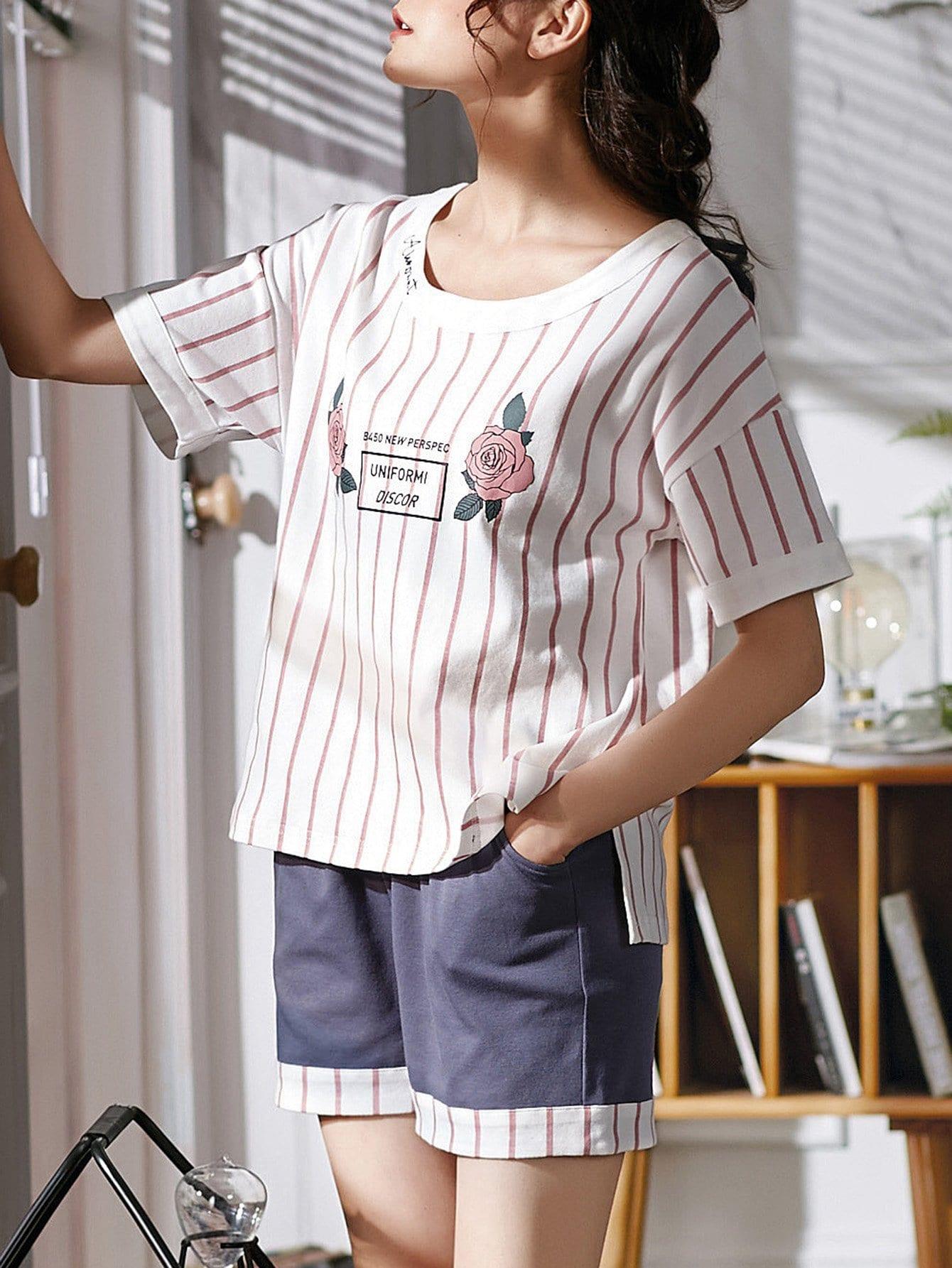 Купить Комплект пижамы цветочный топ с полосками и шорты, null, SheIn