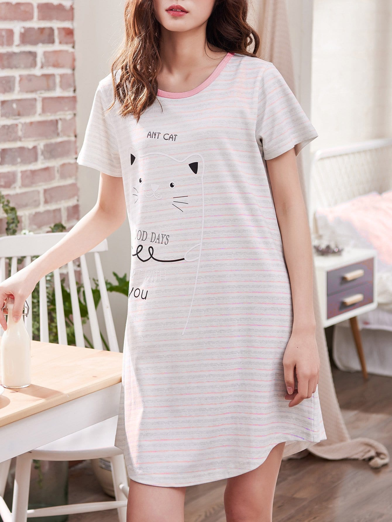 Cat Print Striped Dress