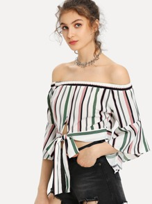 Off Shoulder Striped Knot Hem Top