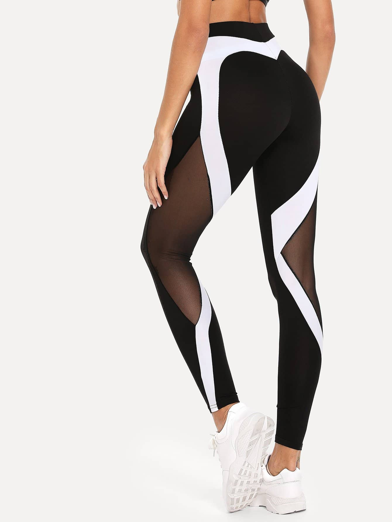 Sheer Mesh Panel Leggings sheer mesh panel colorblock legging