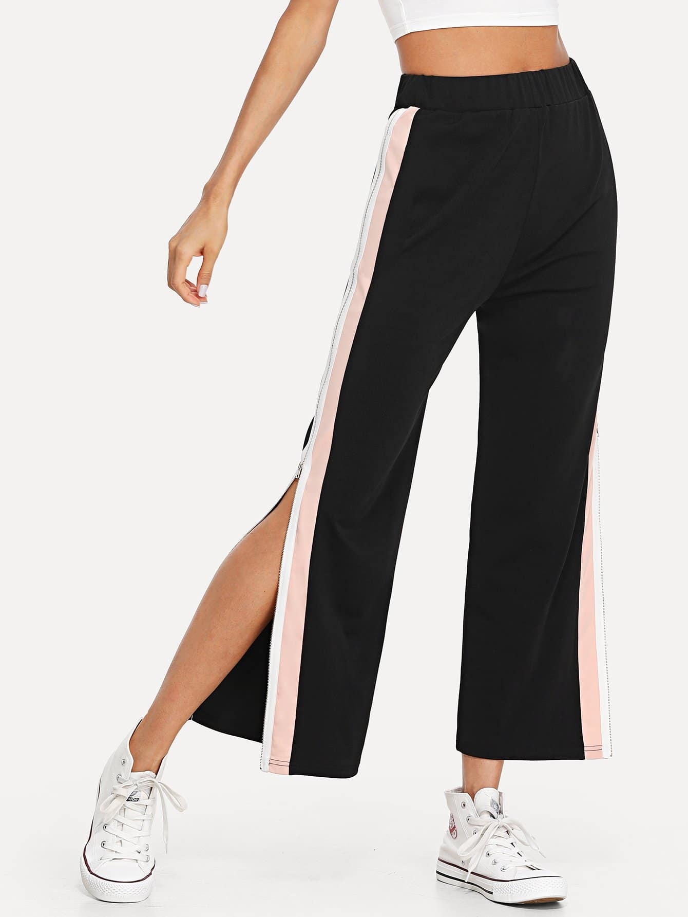 Contrast Striped Side Split Pants