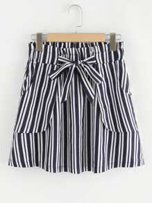 Knot Waist Striped Skirt