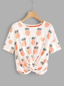Pineapple Print Twist Tee
