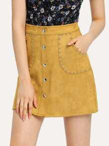 Single Breasted Metal Beaded Skirt