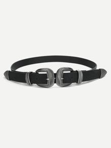 Double Metal Buckle Belt