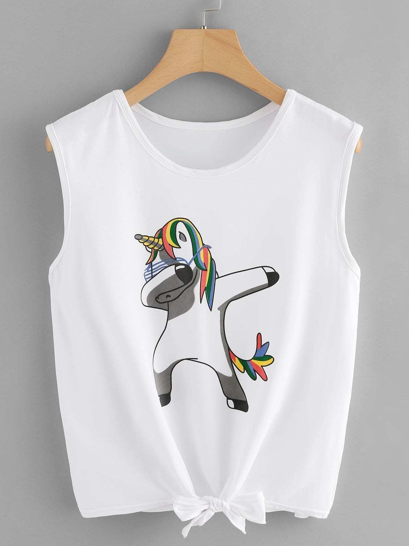 Unicorn Print Knot Hem Tee unicorn print dip hem tee