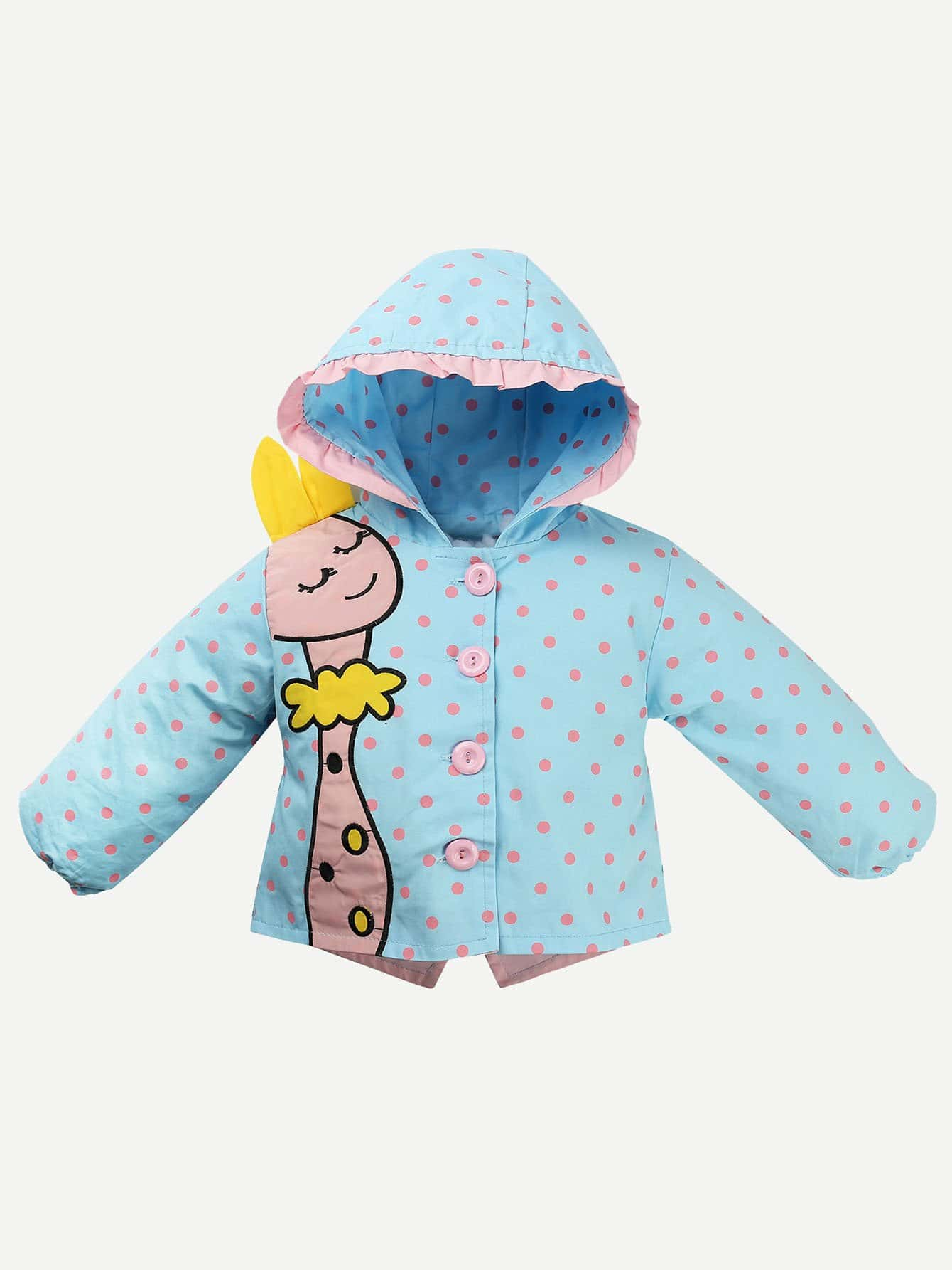 Girls Cartoon Embroidered Spot Hooded Coat 10pcs hk70dr2119 for tricolor gs700 7 tablet touch screen digiziter fpc tp070255 k71 01 hs1285 black and white color
