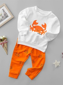 Cartoon Print Pullover With Pants ROMWE