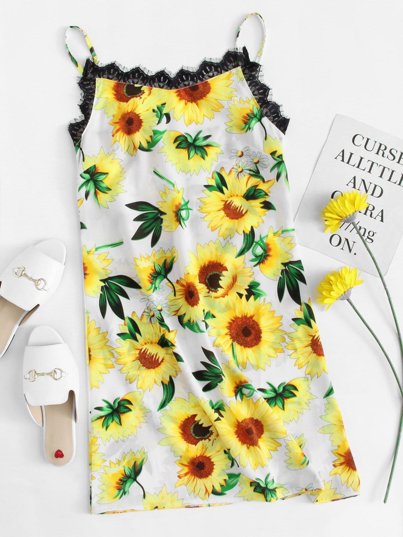 Eyelash Lace Trim Sunflower Print Cami Dress sunflower print wide legs lace patchwork womens jumpsuits