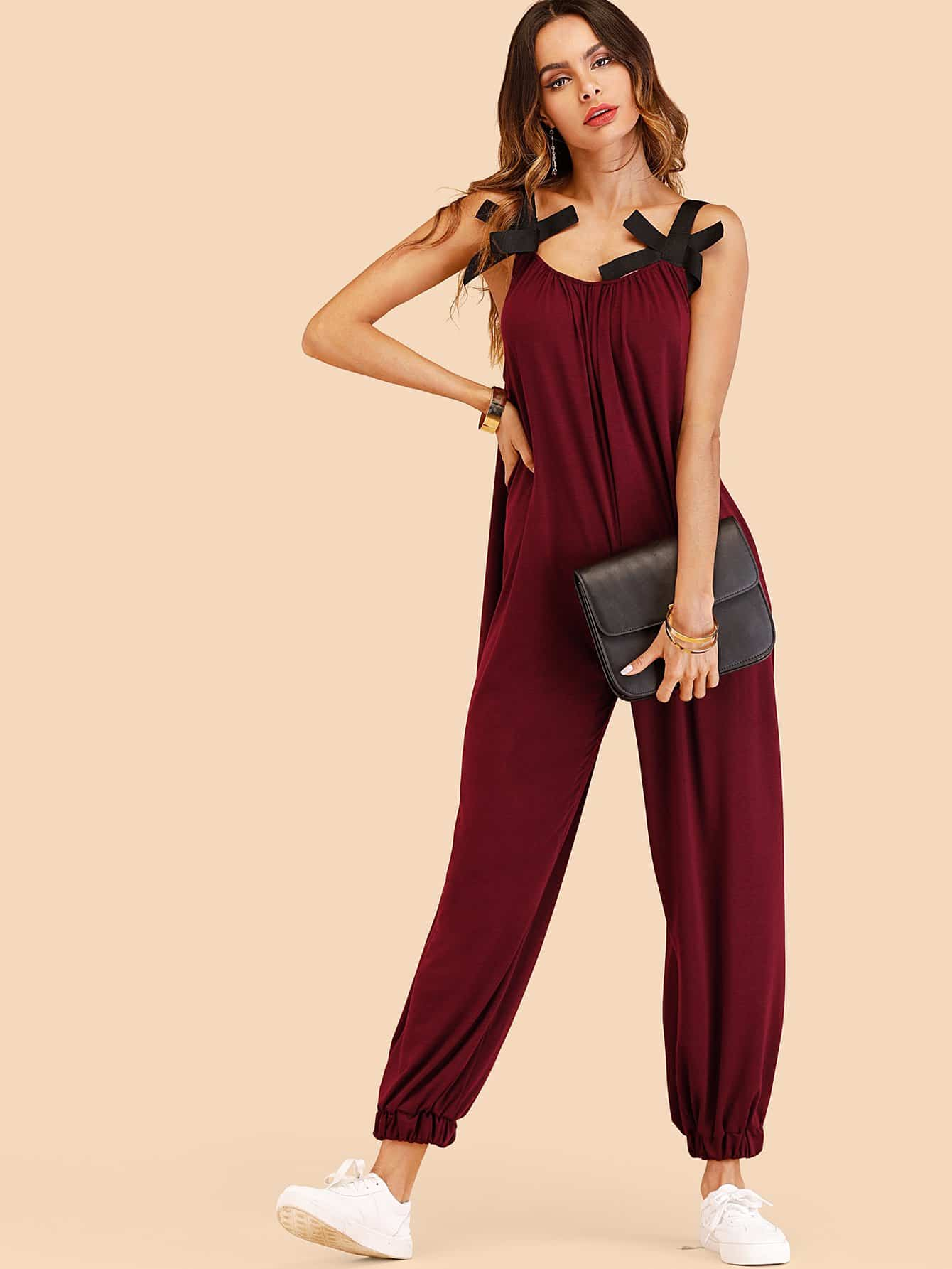 Bow Detail Oversized Pinafore Jumpsuit ring detail striped pinafore jumpsuit