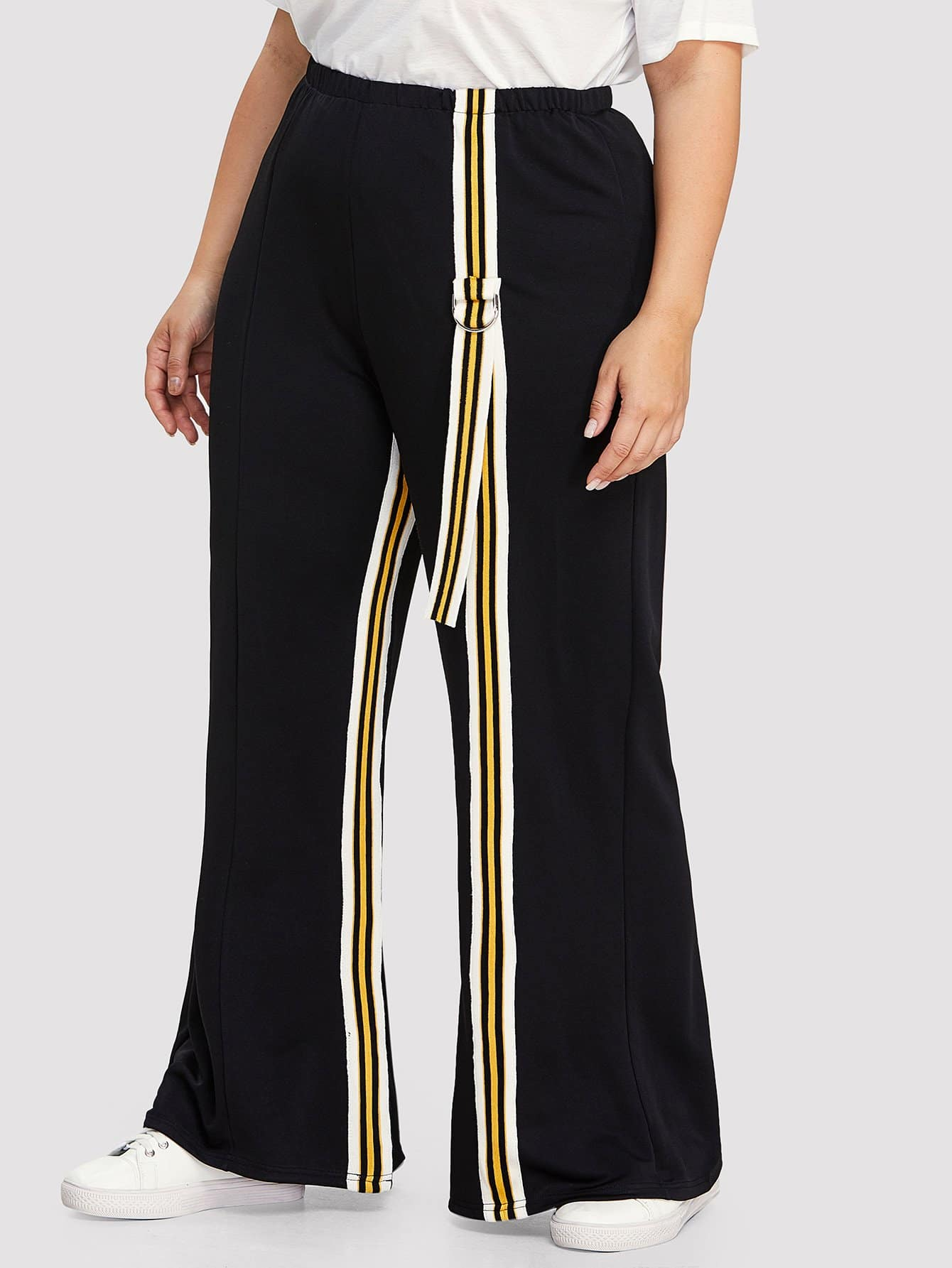 Striped Tape Side Wide Leg Pants bow tie side wide leg pants