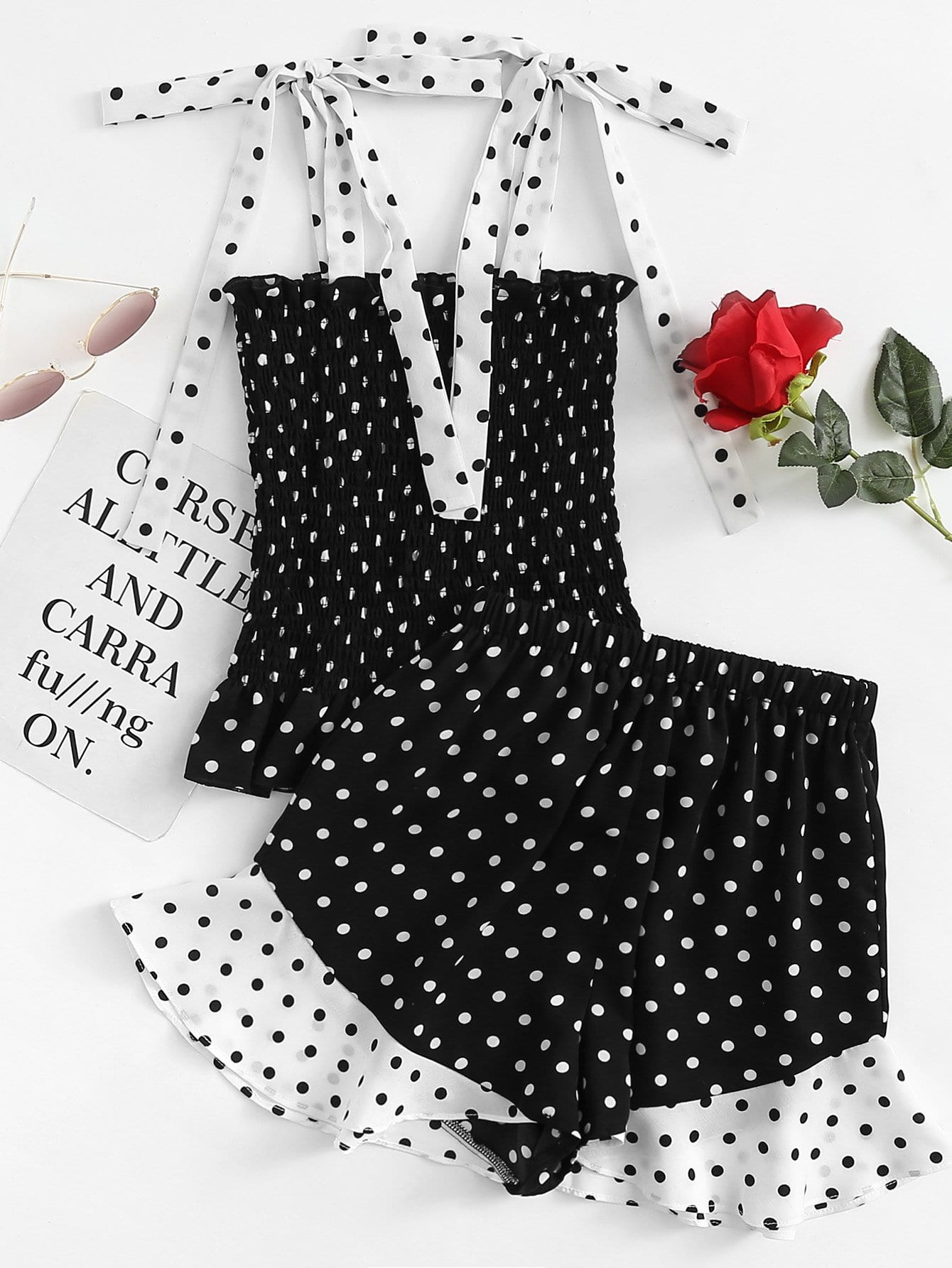 Polka Dot Knot Shoulder Shirred Top With Shorts knot back polka dot wrap top