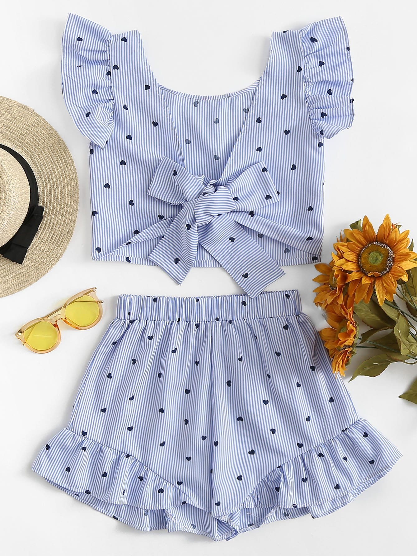Gingham Frill Trim Bow Tie Back Top With Shorts frill trim bow tie front pants
