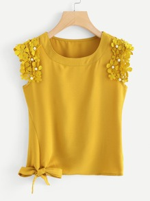 Knot Side Pearl Beaded Detail Top