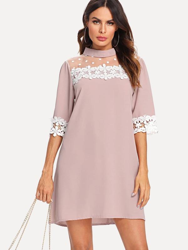 Sheer Mesh Panel Lace Trim Dress by Sheinside