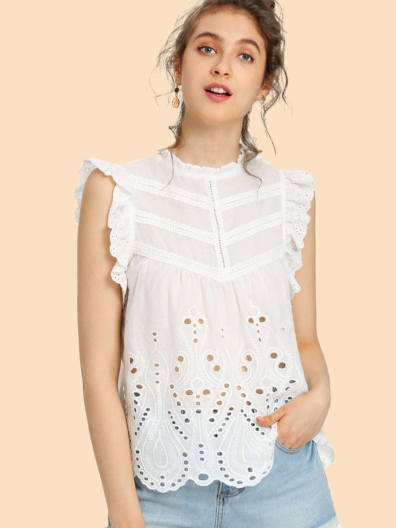Ruffle Trim Eyelet Embroidered Top mock neck eyelet embroidered ruffle top