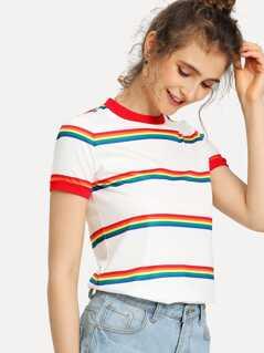 Rainbow Stripe Print T-shirt