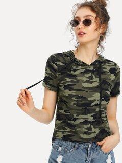 Camo Print Hooded T-shirt
