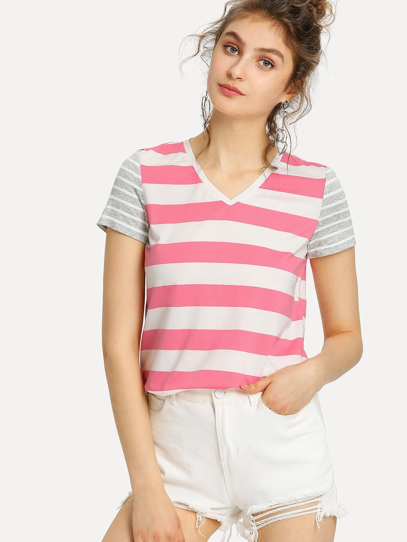 V-Neck Mixed Stripe T-shirt two tone mixed stripe t shirt