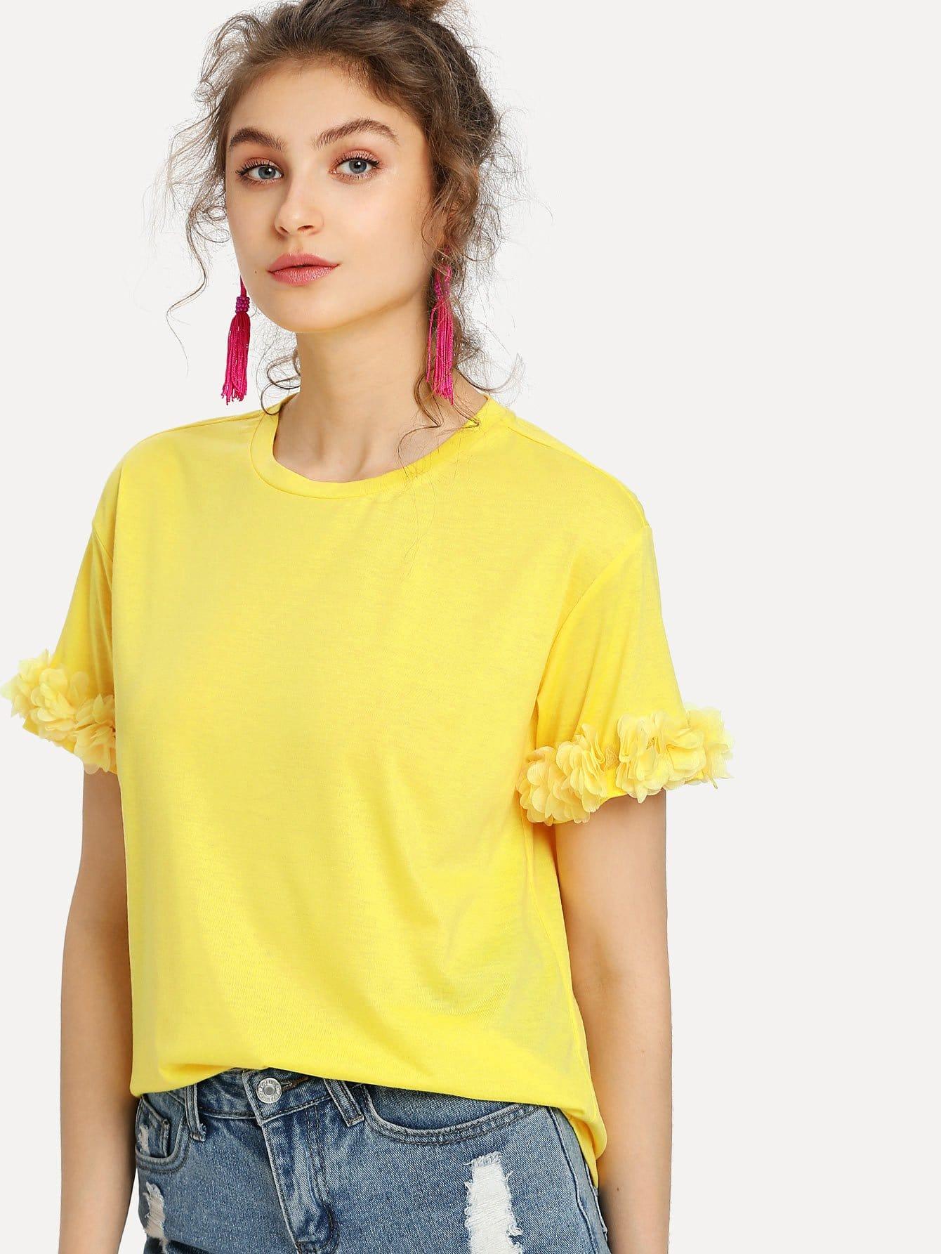 Flower Applique Cuff T-shirt блузки a karina блузка