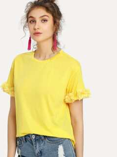 Flower Applique Cuff T-shirt