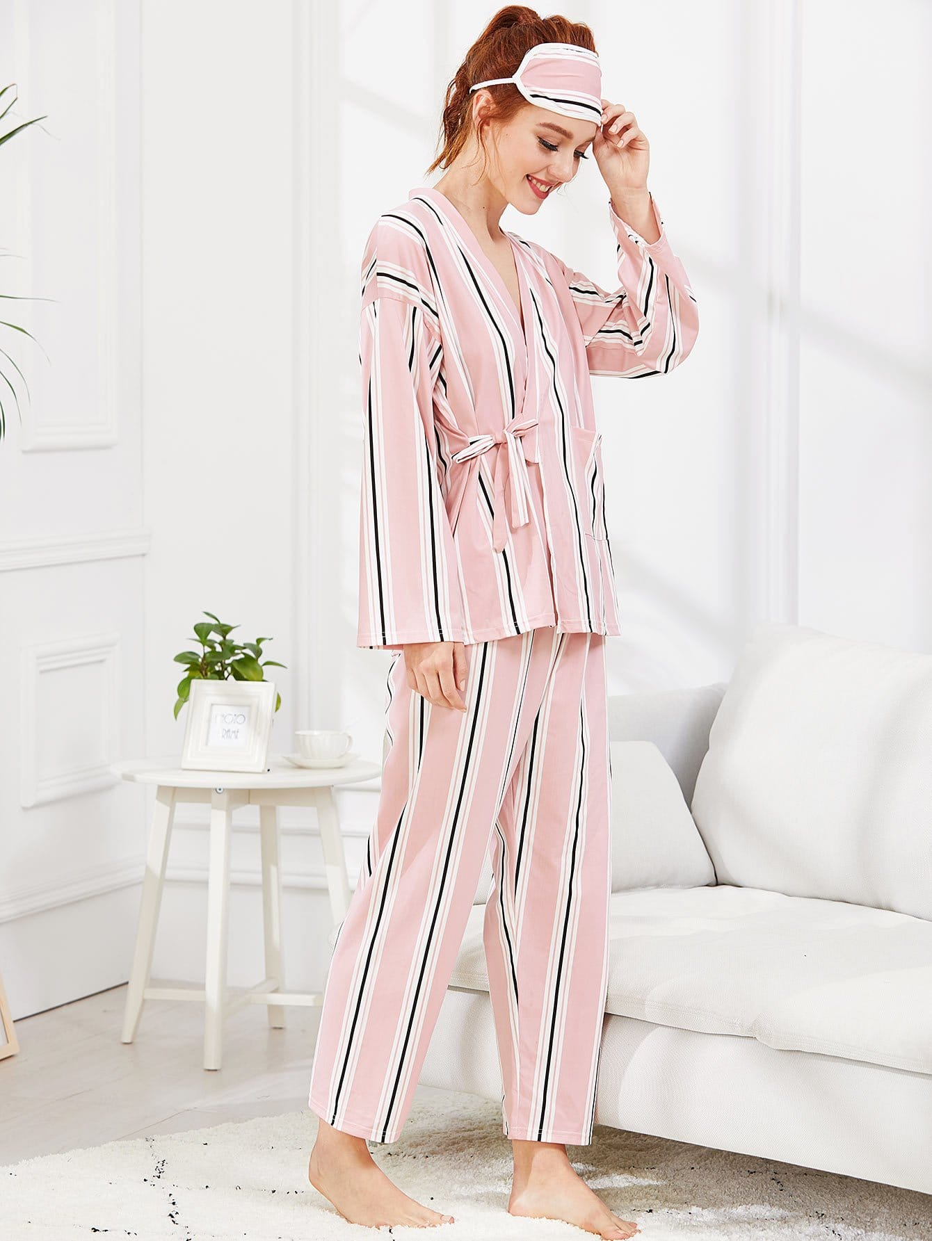 Wrap Striped Pajama Set With Eye Mask цена и фото