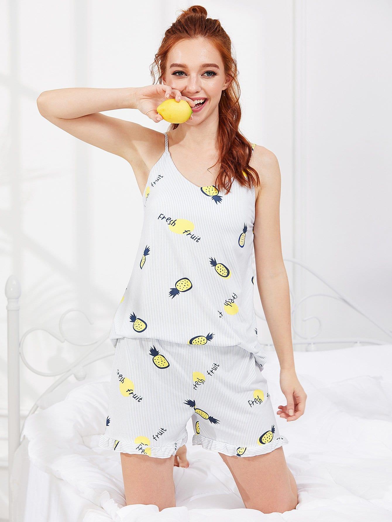 Pineapple Print Cami Top & Shorts PJ Set pineapple print smock cami dress