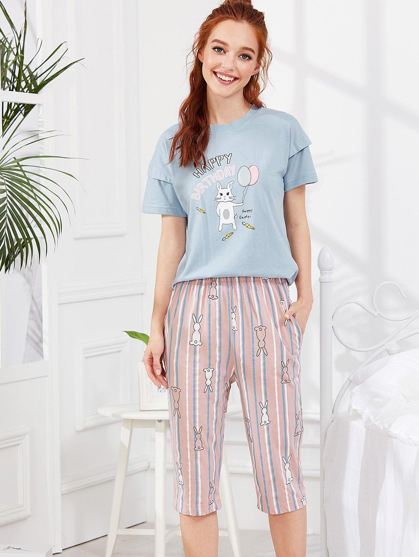 Contrast Striped Rabbit Print Pajama Set rabbit print pullover
