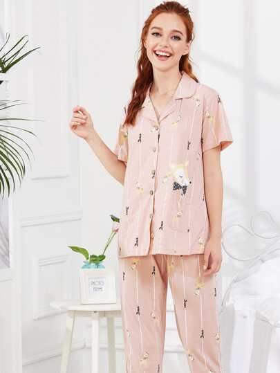 Cartoon Print Shirt & Pants PJ Set