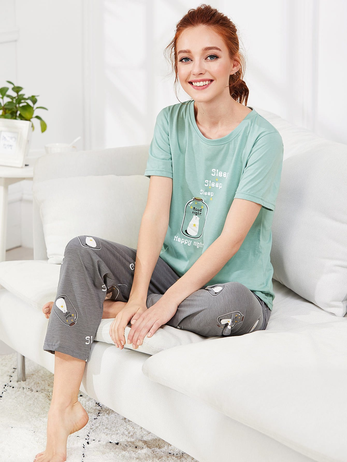 Купить Bear Print Tee & Pants PJ Set, Poly, SheIn