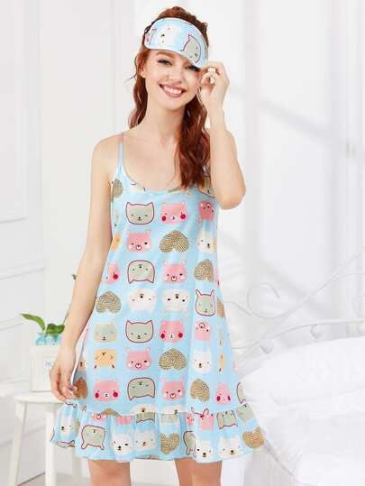 Animal Print Cami Dress With Eye Mask