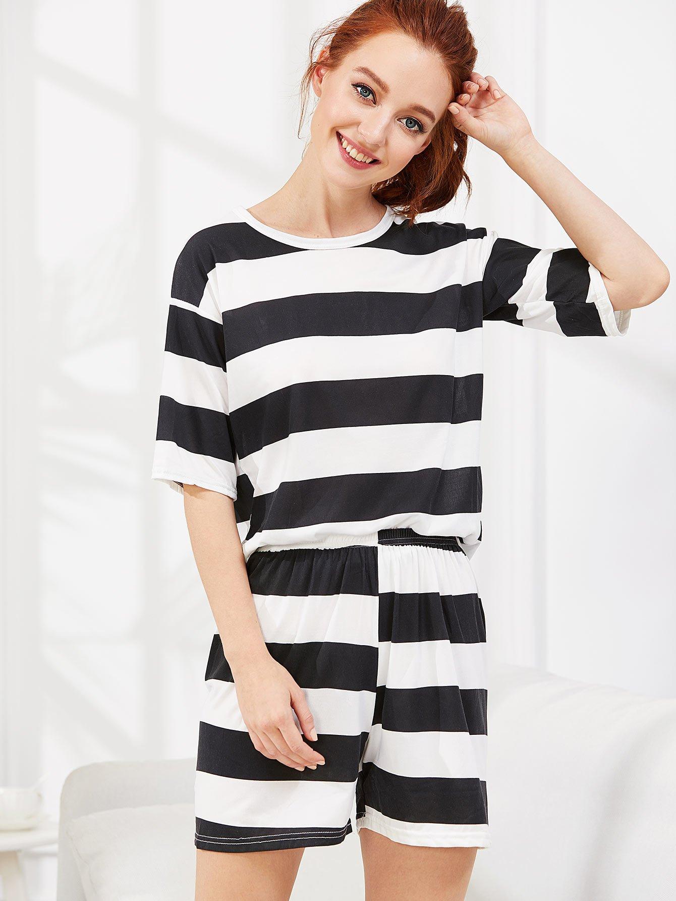 Contrast Striped Tee & Shorts PJ Set