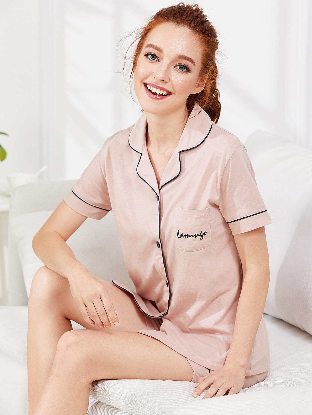 Contrast Binding Flamingo Print Pajama Set contrast binding embroidered long pajama set