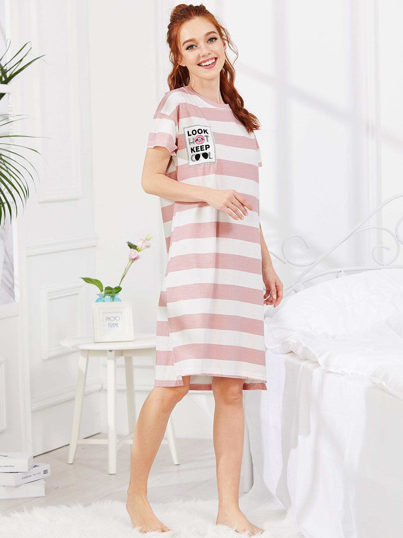 Contrast Striped Letter Print Dress contrast striped cat print dress