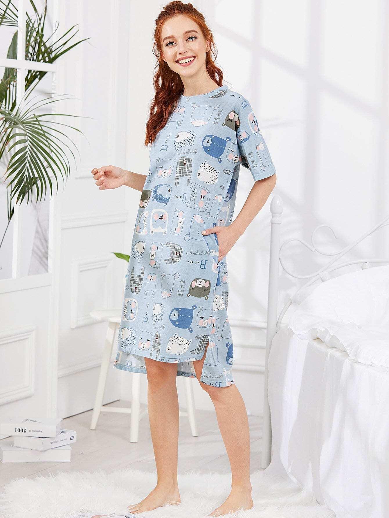 Animal Print Dip Hem Dress
