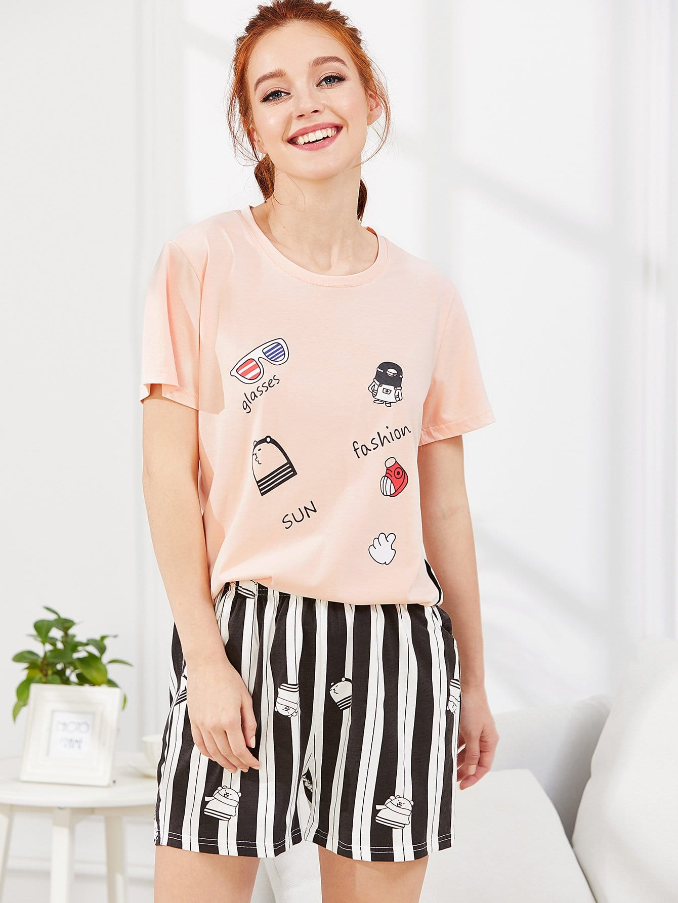 Cartoon Print Tee & Striped Shorts PJ Set