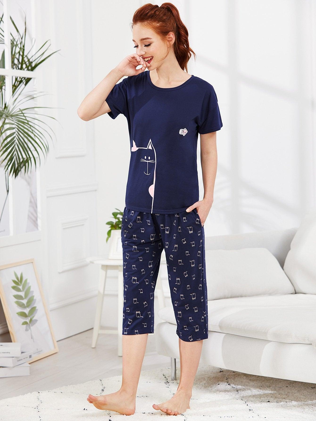 Animal Print Tee & Pants PJ Set