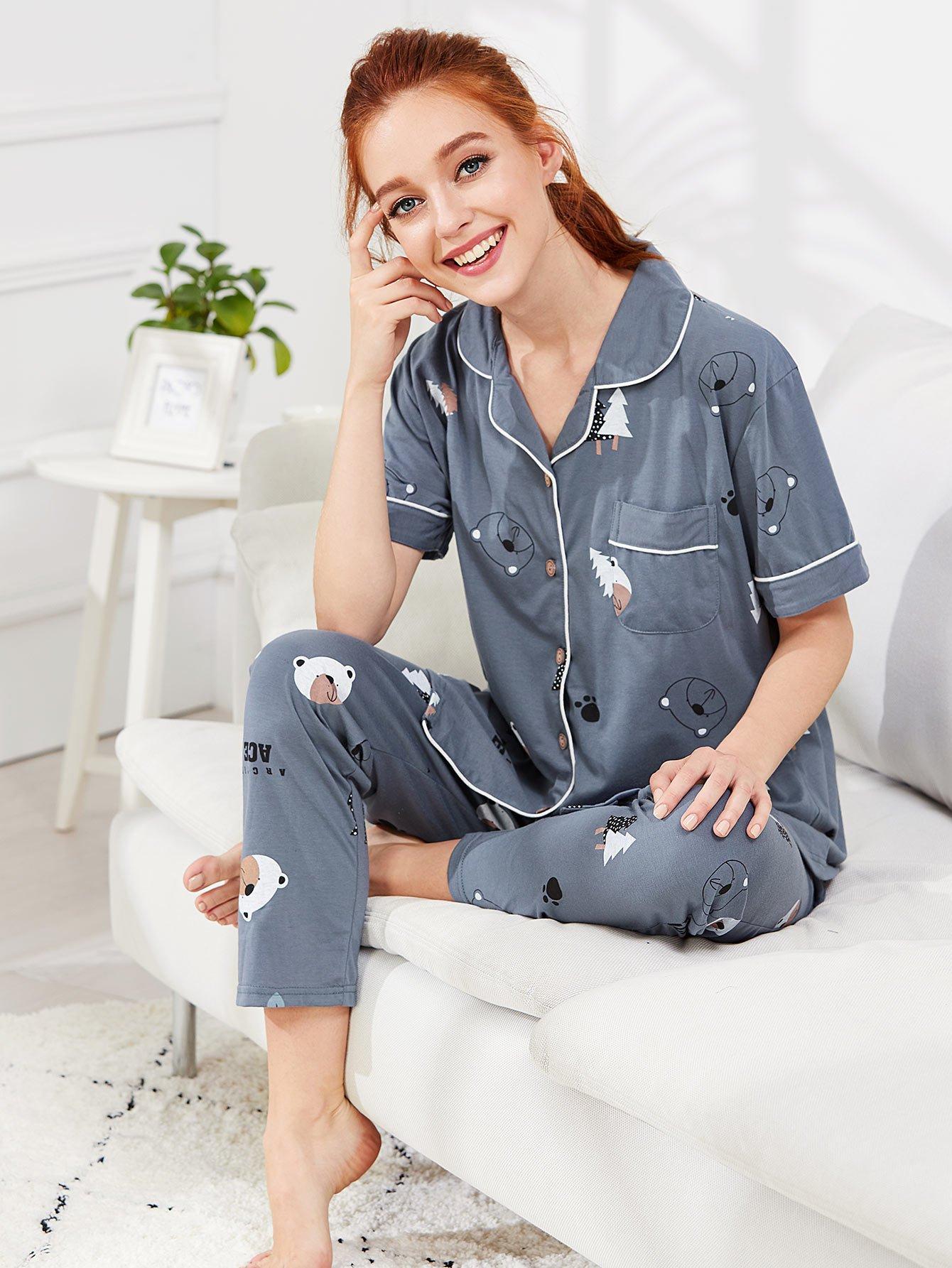 Contrast Binding Bear Print Pajama Set contrast binding embroidered long pajama set