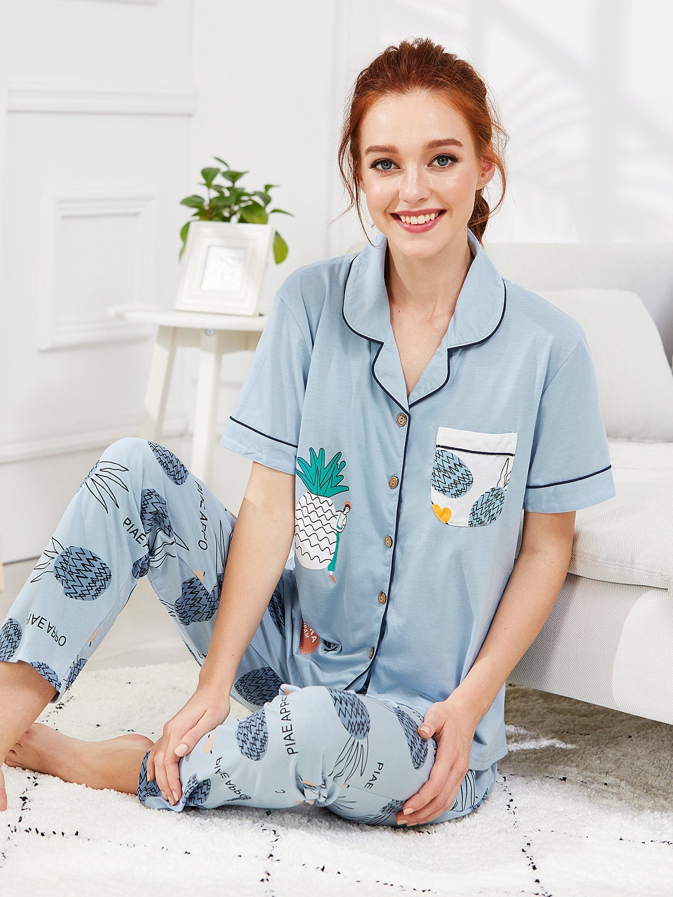 Contrast Binding Pineapple Print Pajama Set цена и фото
