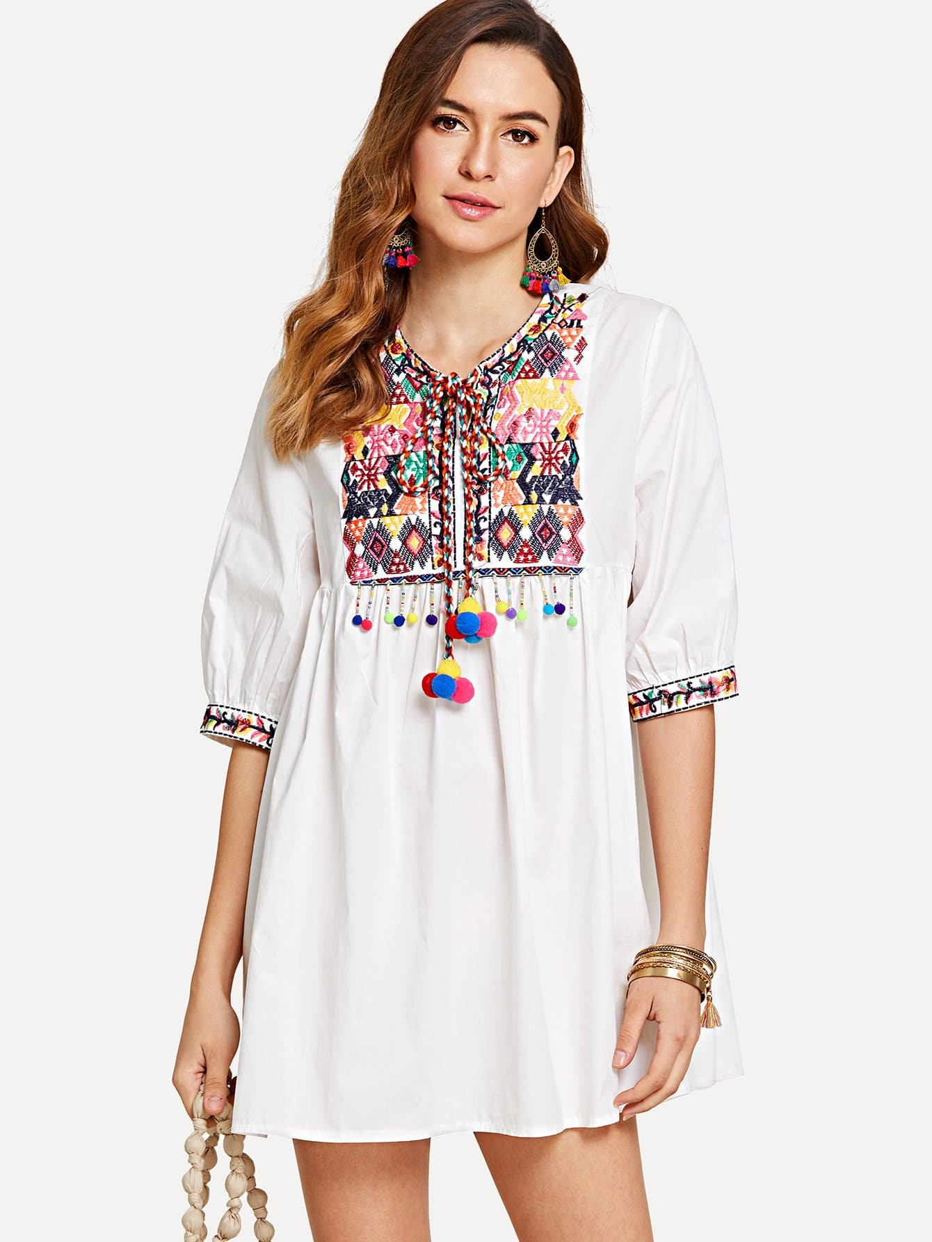 Embroidery Jacquard Pompom Detail Smock Blouse pinstriped open shoulder tie detail embroidery blouse