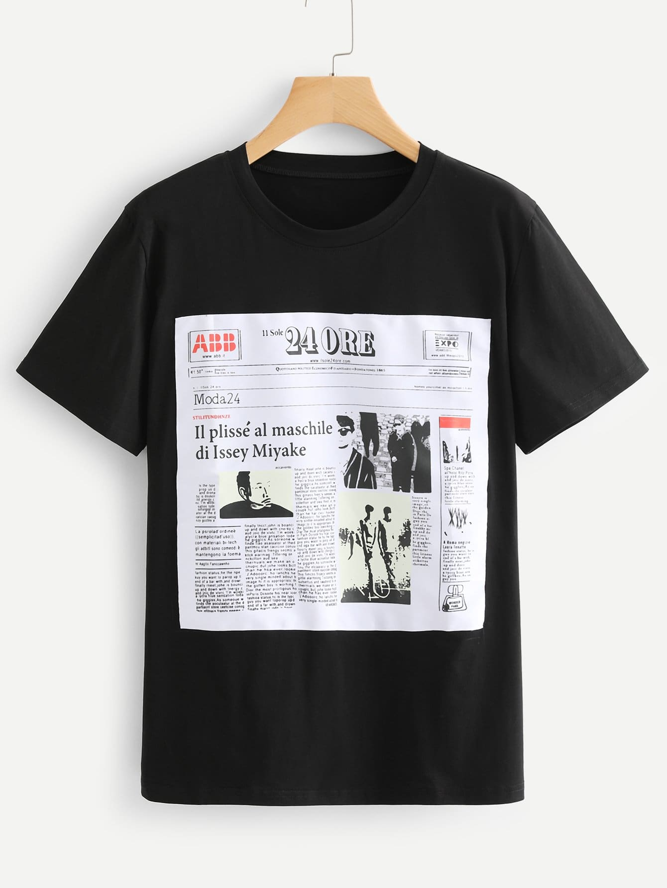 Newspaper Patched Front Tee floral patched round neck tee