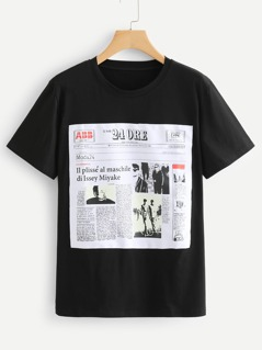 Newspaper Patched Front Tee