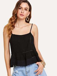 Circle Embroidery Insert Cami Top