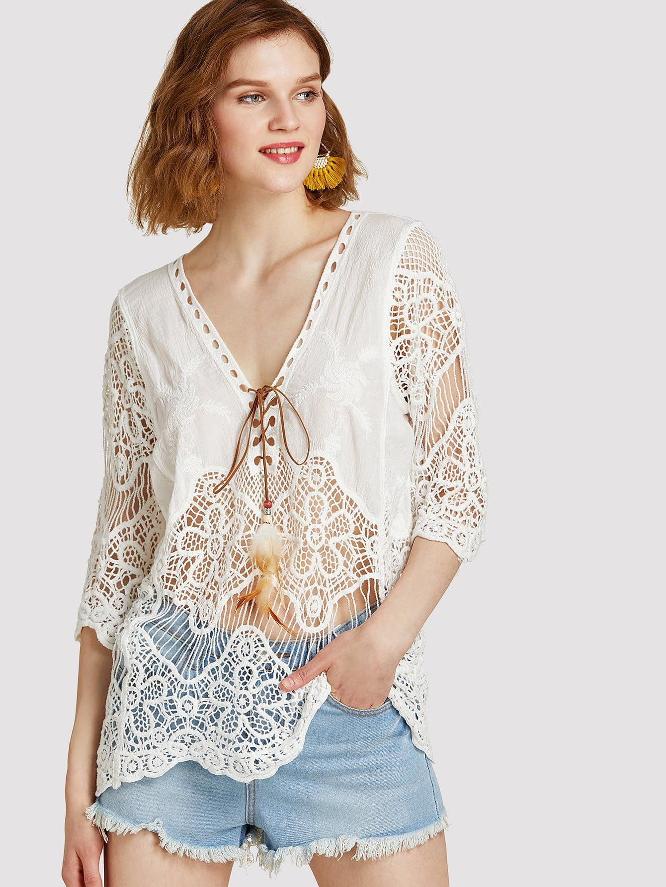 Faux Feather Detail Knot Front Lace Top v notch faux feather detail bardot top