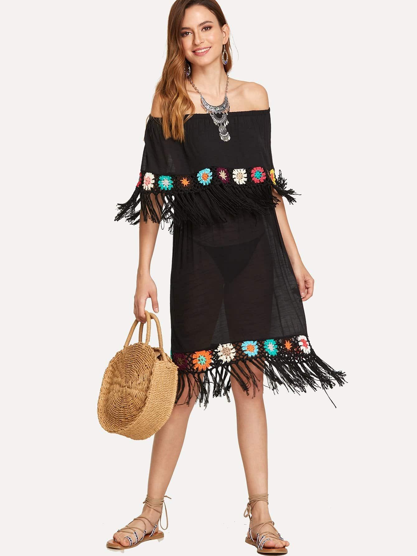 Flounce Trim Fringe Embellished Eyelet Crochet Dress Without Panty feather print fringe embellished eyelet crochet top