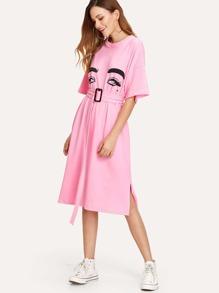 Figure Face Print Slit Hem Belted Dress