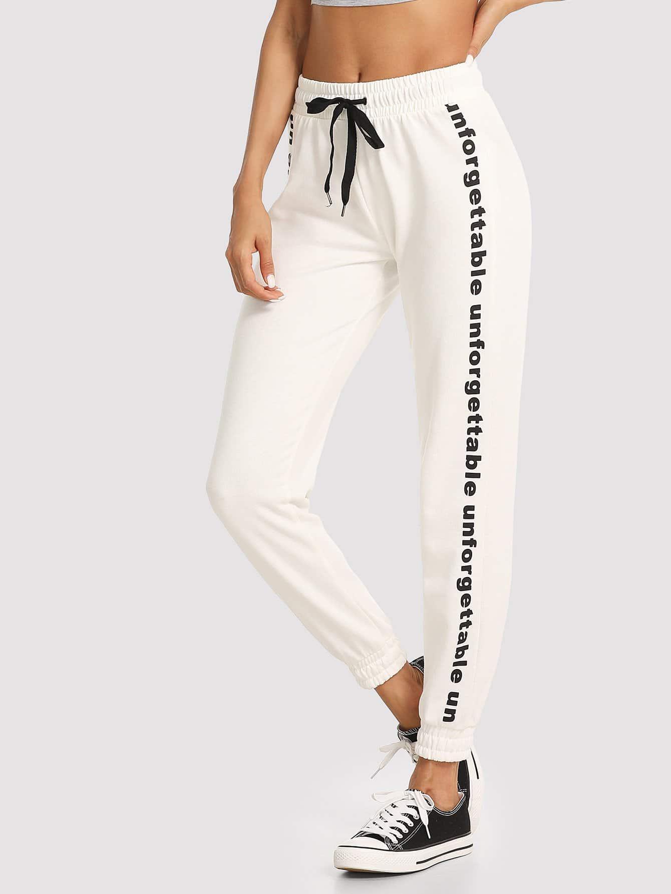 Letter Print Side Drawstring Waist Shirred Hem Pants shirred waist zip back fit