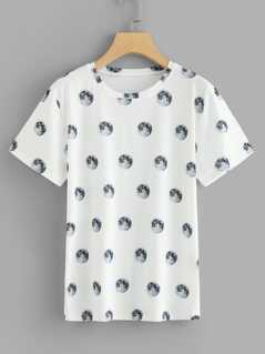 Allover Planet Print Tee