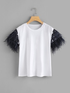 Layered Faux Feather Detail Sleeve Tee