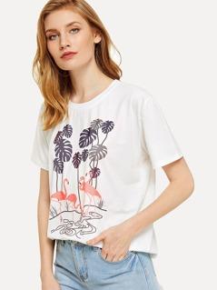 Tree and Flamingo Print Tee